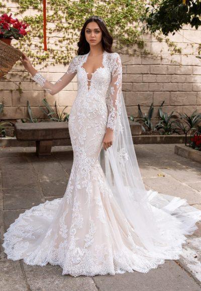 Long Sleeve Sweetheart Neckline Mermaid Wedding Dress With Open Back by Pronovias