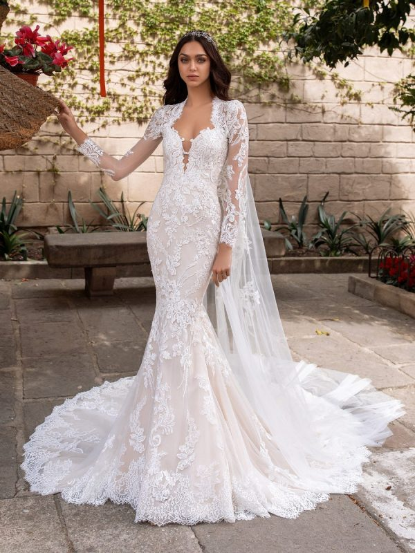 Long Sleeve Sweetheart Neckline Mermaid Wedding Dress With Open Back by Pronovias - Image 1