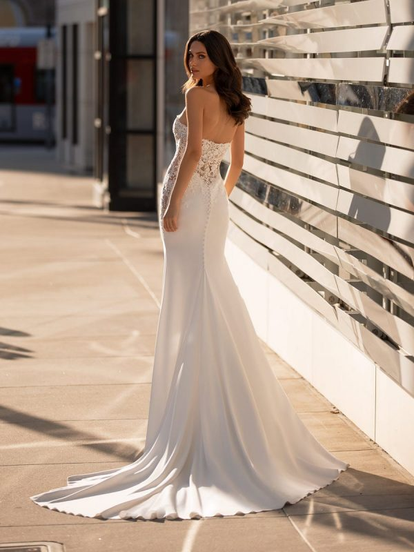 Off The Shoulder Mermaid Wedding Dress With Crystal Encrusted Bodice And Crepe Skirt by Pronovias - Image 2