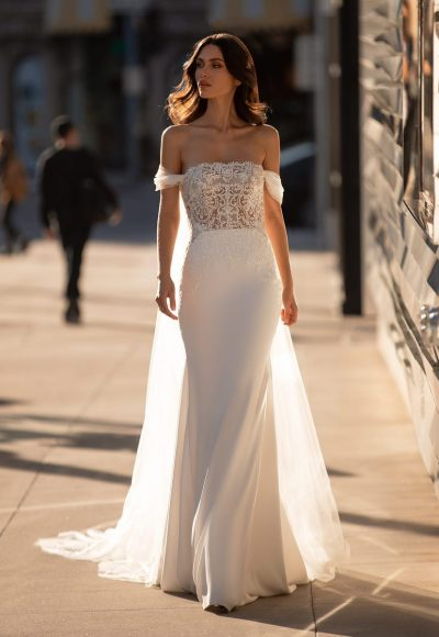 Off The Shoulder Mermaid Wedding Dress With Crystal Encrusted Bodice And Crepe Skirt by Pronovias