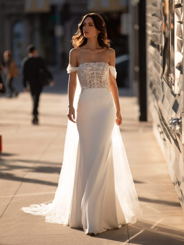 Off The Shoulder Mermaid Wedding Dress With Crystal Encrusted Bodice And Crepe Skirt by Pronovias - Image 1