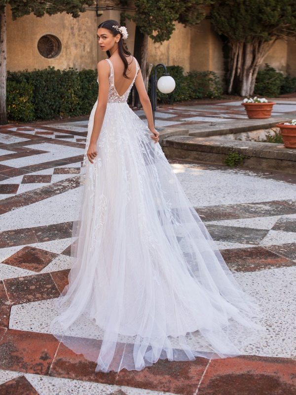 Sleeveless V-neckline A-line Wedding Embroidered Tulle Dress With Illusion Bodice by Pronovias - Image 2