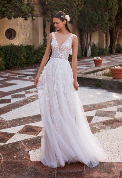 Sleeveless V-neckline A-line Wedding Embroidered Tulle Dress With Illusion Bodice by Pronovias