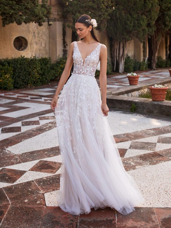 Sleeveless V-neckline A-line Wedding Embroidered Tulle Dress With Illusion Bodice by Pronovias - Image 1