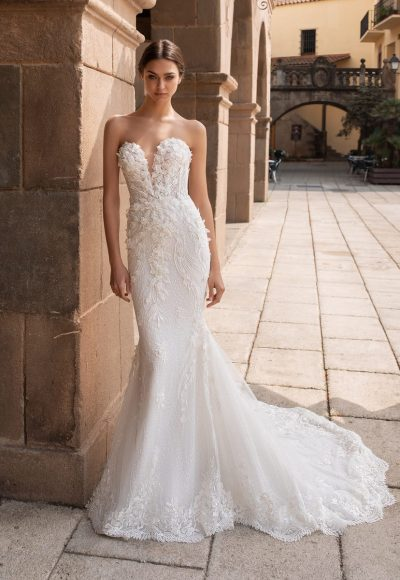 Strapless Sweetheart Neckline 3D Embroidered Mermaid Wedding Dress by Pronovias