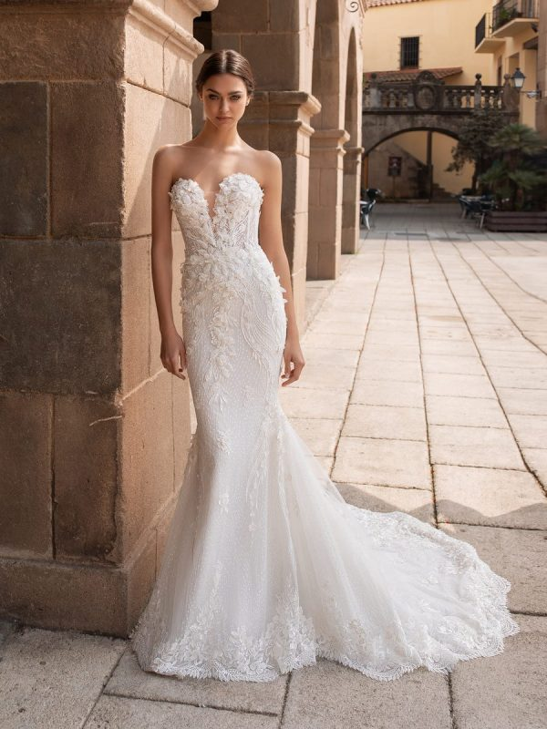 Strapless Sweetheart Neckline 3D Embroidered Mermaid Wedding Dress by Pronovias - Image 1