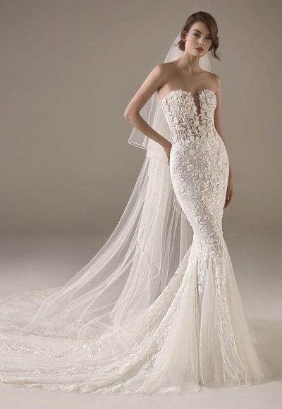 Strapless Sweetheart Neckline Mermaid Beaded Wedding Dress by Pronovias
