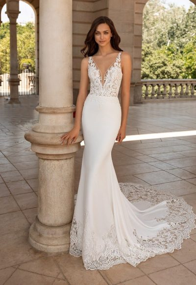 Wedding Dress In Crepe With Mermaid Cut, V-neck And Tattoo-effect Back by Pronovias
