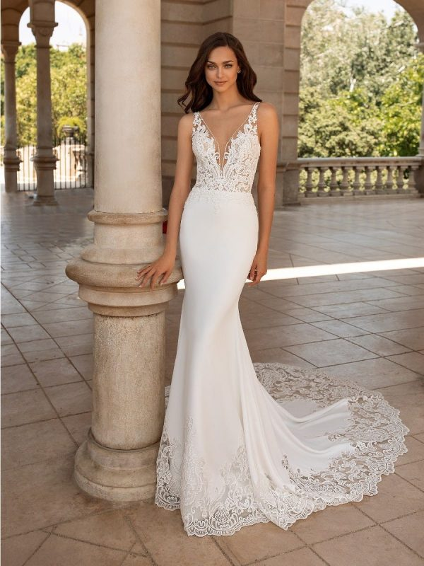 Wedding Dress In Crepe With Mermaid Cut, V-neck And Tattoo-effect Back by Pronovias - Image 1