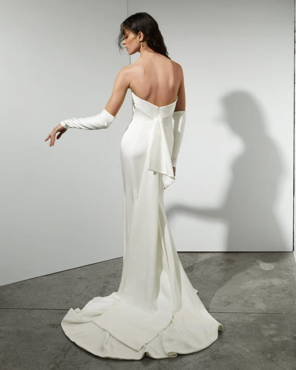 Strapless Crepe Sheath Wedding Dress With Detachable Sleeves by Rivini - Image 2