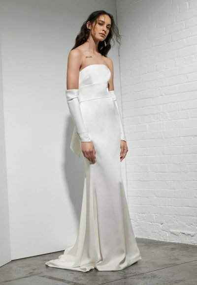 Strapless Crepe Sheath Wedding Dress With Detachable Sleeves by Rivini