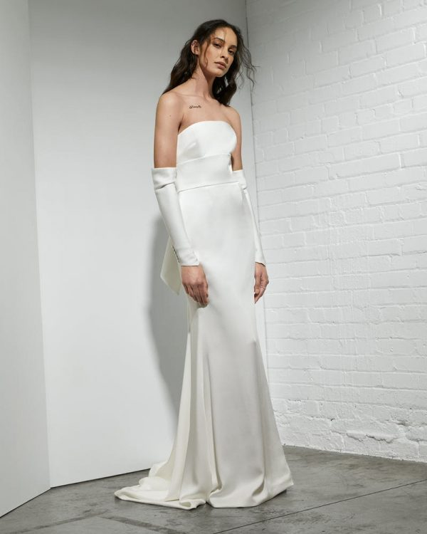 Strapless Crepe Sheath Wedding Dress With Detachable Sleeves by Rivini - Image 1