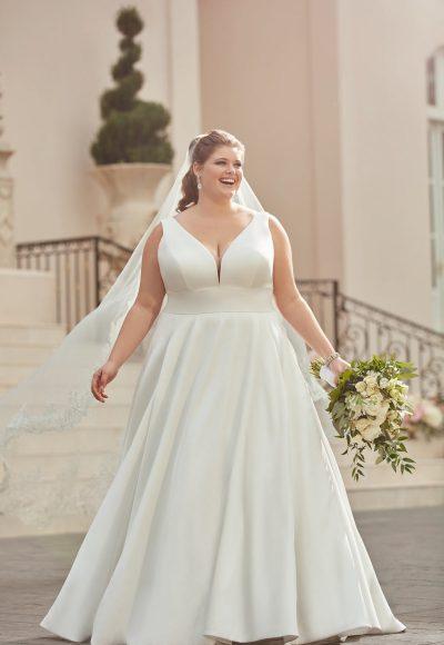 SIMPLE PLUS-SIZE BALL GOWN WEDDING DRESS by Stella York