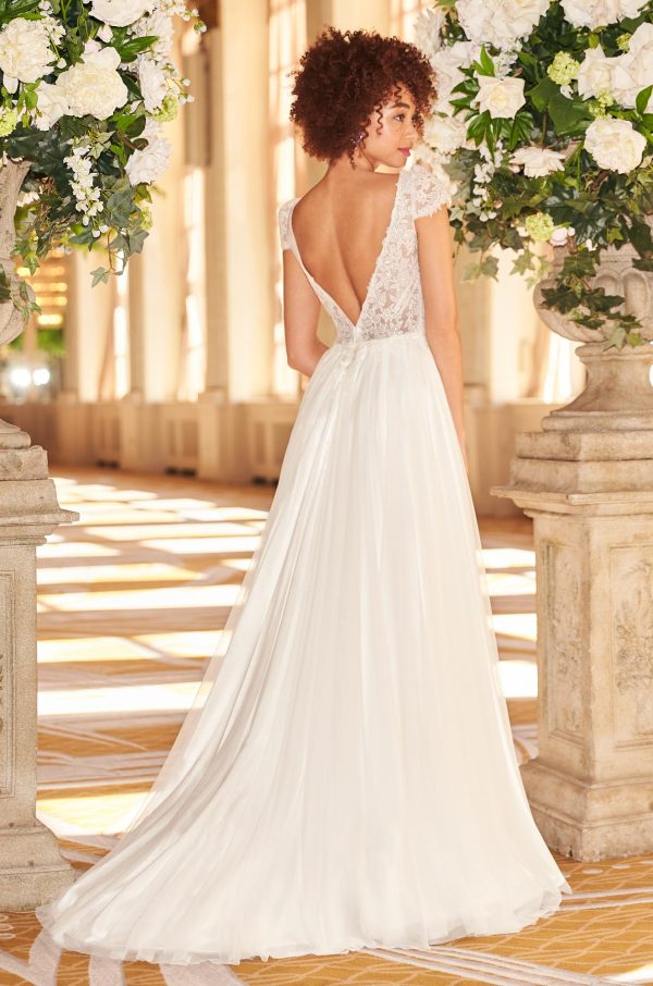 V-neck Short Sleeve Sheath Wedding Dress With Lace Bodice And Tulle Skirt With Slit by Mikaella - Image 2