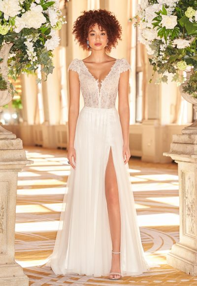 V-neck Short Sleeve Sheath Wedding Dress With Lace Bodice And Tulle Skirt With Slit by Mikaella