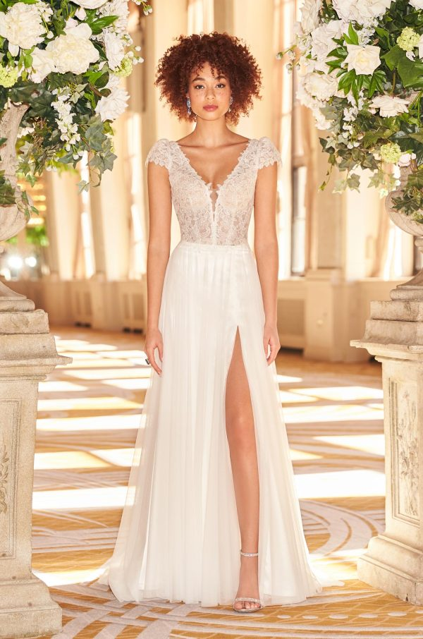 V-neck Short Sleeve Sheath Wedding Dress With Lace Bodice And Tulle Skirt With Slit by Mikaella - Image 1