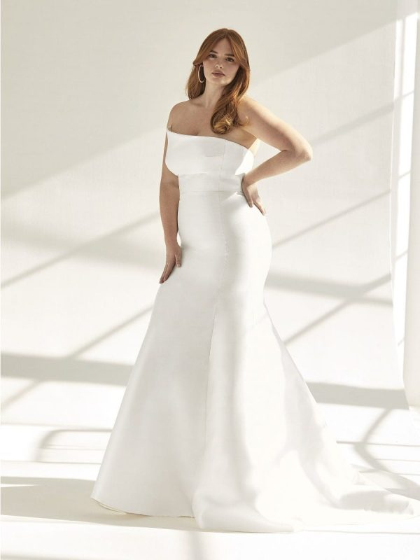 Mermaid Wedding Dress In Mikado With Open Back by Pronovias - Image 1