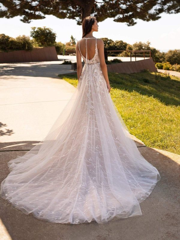 Spaghetti Strap V-neckline A-line Tulle Wedding Dress With Floral Details by Pronovias - Image 2
