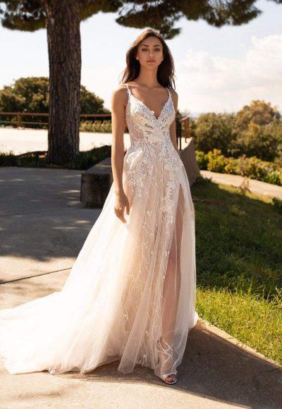 Spaghetti Strap V-neckline A-line Tulle Wedding Dress With Floral Details by Pronovias