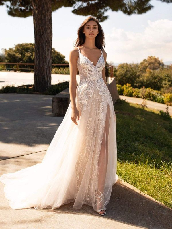 Spaghetti Strap V-neckline A-line Tulle Wedding Dress With Floral Details by Pronovias - Image 1