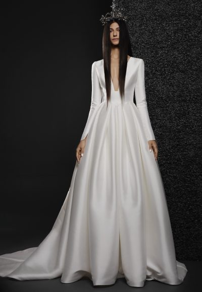 Long Sleeve Mikado Ball Gown Wedding Dress With Dropped Waist And Deep V-neckline by Vera Wang Bride