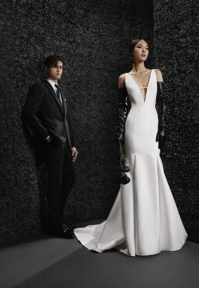 Sleeveless Deep V-neckline Mikado Fit And Flare Wedding Dress by Vera Wang Bride