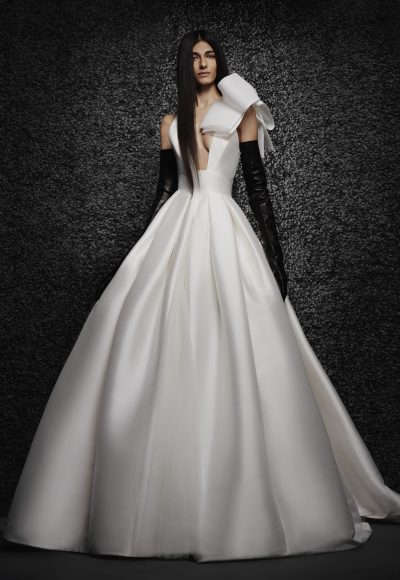 Sleeveless Mikado Ball Gown Wedding Dress With Bow At Shoulder by Vera Wang Bride