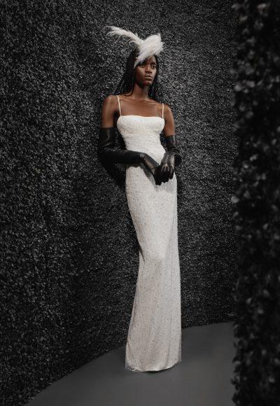 Spaghetti Strap Square Neckline Sheath Beaded Wedding Dress With Back Slit by Vera Wang Bride