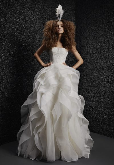 Strapless Ball Gown Wedding Dress With Lace Bodice And Ruffled Skirt by Vera Wang Bride