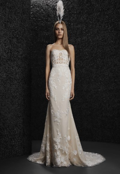 Strapless Sheath All-over Lace Wedding Dress by Vera Wang Bride